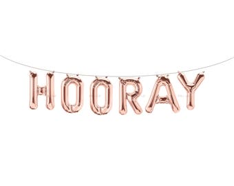 HOORAY Rose Gold Letter Balloons | Metallic Letter Balloons | Rose Gold Party Decorations