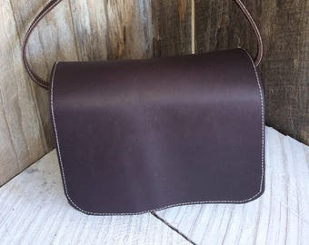 Leather Purse with shoulder straps- Amish Handmade - Brown Genuine Leather - Made in USA