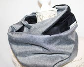 Black & Charcoal Reversible Infinity scarf with Hidden Pocket. Travel scarf, Wanderlust gift, Passport Scarf Secret Pocket Scarf