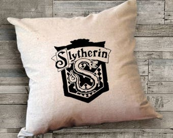 Harry Potter Slytherin House Pillow Cover,Harry Potter Pillow,Slytherin Pillow,Slytherin decal,Slytherin patch,18 x 18 Pillow,Custom Pillows