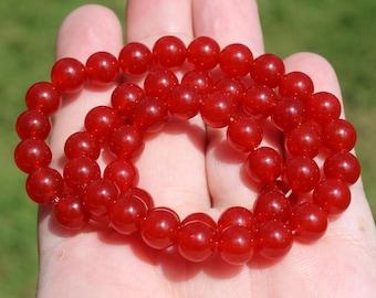 2 round 8 MM Ruby beads. AAA +++. AZ8