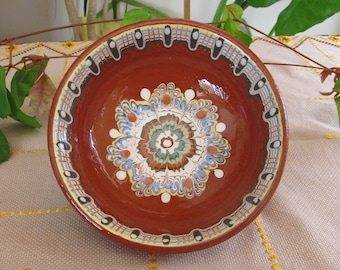 Handmade Vintage Traditional Bulgarian Art Pottery Bowl, Ceramic Soup Bowl, Vintage Home Decor, Hand Painted Clay Bowl, Glazed Pottery Bowl
