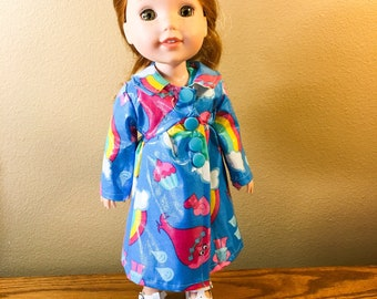 14.5 Inch Doll Clothes- Trolls printed Rain Coat Jacket fits Dolls Like Wellie Wishers doll clothes