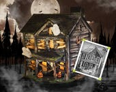 Haunt Your House • Model Haunted House Halloween Decor • Custom Decoration • Ghosts & Pumpkins • Spiderweb • Boarded Windows • Light Up Home