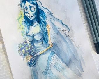 Corpse Bride Art, Halloween Art Print, Original Art Print, corspe bride halloween art print