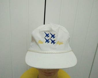 Rare Vintage BLUE ANGELS Four Fighter Jets Cap Hat Free size fit all