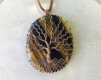 Tree of Life Pendant, Tigers Eye Necklace, Crystal Necklace, Healing Crystal, Crystal Pendant, Gemstone Necklace, Wire Wrapped Crystal