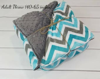 Chevron Minky Weighted Blanket for Adult (40in x 65in) - Choose Your Weight - Choose Your Colors - Adult Weighted Blanket