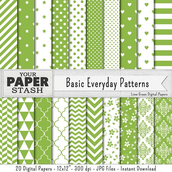 Lime Green Digital Paper Scrapbook Backgrounds Geometric