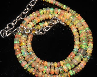 """40 Ctw 1Necklace 3to5 mm 16"""" Beads Natural Genuine Ethiopian Welo Fire Opal ET128"""