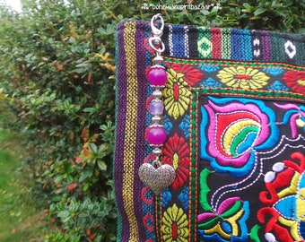 Heart Bag Charm, Heart Purse Charm, Heart Keyring, Heart Keychain, Heart Key Fob, Bohemian Bag Charm, Boho Bag Charm, Bohemian Bag Jewelry