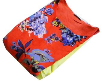 Indian Frock Kurti Vintage Craft Fabric Long Tunic Top Women Evening Wear Kurti Floral Printed Fabric Top Kurti.