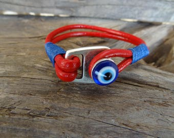EXPRESS SHIPPING, Men's Leather Bracelet,Evil Eye Bracelet,Red Leather Bracelet,Protection Bracelet, Mens Jewelry, Father's Day Gifts