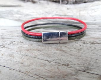 EXPRESS SHIPPING,Women Leather Bracelet,Red Black Green Leather Bracelet Multi-strand Cuff Leather Bracelet,Women Bracelet,Mother's Day Gift