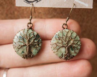 Tree earrings on Rhyolite - Semi-precious stone - Tree of life jewelry - Gift Christmas woman