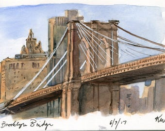4x6 - Brooklyn Bridge Park - Original Watercolor Painting