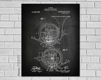 French Horn Gift, French Horn Wall Decor, French Horn Art, French Horn Print, French Horn Patent, French Horn Poster, French Horn, MF199