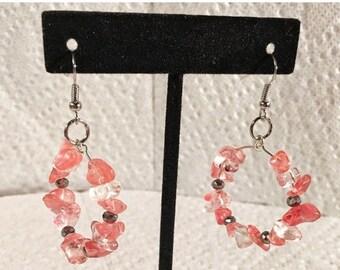 BIG SUMMER SALE Cherry quartz, silver, hoop, circle earrings