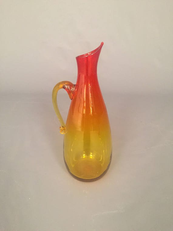 Mid-Century Blenko Yellow Orange Pitcher