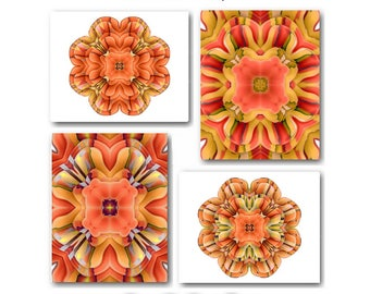 Orange Wall Art Orange Floral Art Prints Tangerine Flowers Abstract Wall  Decor Rustic Orange Kitchen Dining