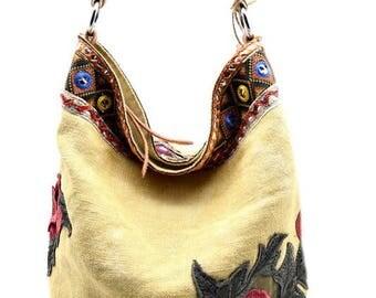 Boho Hobo - Linen Vintage Embroidered Applique