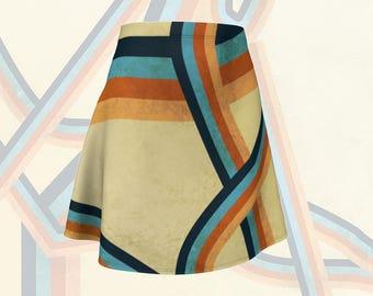 Women's flare skirt, Abstract Geometric design, Women's summer skirt