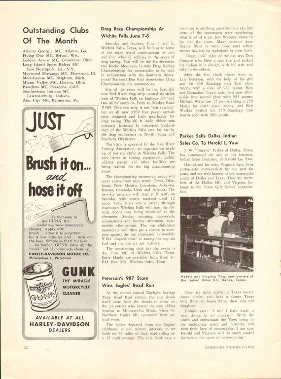 1958 Jimmie Parker, Dallas Texas, Sells Indian Sales Co. to Harold Yaw Article #5806amot04