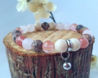 Mala bracelet/  stainless steel beads / Yoga bracelet/  boho /  beaded bracelet/ gemstone /wrist  bracelet/ stackable bracelet/ charm