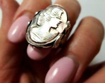 Cameo Ring, Size 6.5, Ready to Ship, or Custom Sized, Unique Hand Carved Mother of Pearl Ring, Sterling Silver, Oval Shell Ring
