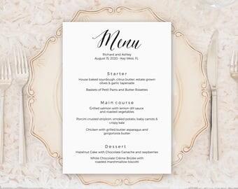 Wedding Menu Template, Wedding Menu Cards, Menu Cards, Editable Menu, Menu Card Template, Reception Menu, Party Menu, Instant Download, Menu