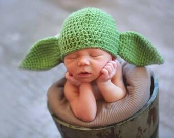 Newborn Yoda inspired hat , baby yoda hat, crochet yoda baby hat, alien baby hat