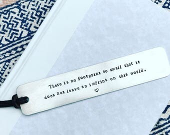 Infant loss, miscarriage, Hand-Stamped Aluminum Bookmark, personalized bookmark, grief