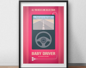 Baby Driver 2017 Movie Poster - Edgar Wright - Alternative Film Poster - Wall Art - Poster Art