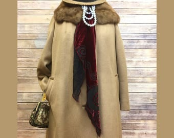 Down on the Boardwalk Vintage 50's Fur Collar Swing Coat