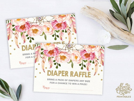 Pink floral diaper raffle boho baby shower invitation insert card il570xn filmwisefo