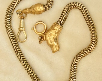 Early Victorian Figural Watch chain With Dogs Head