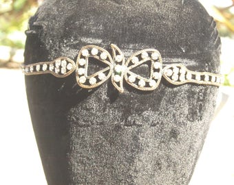 1920's Paste Flapper Bandeau Headband with Bow Design