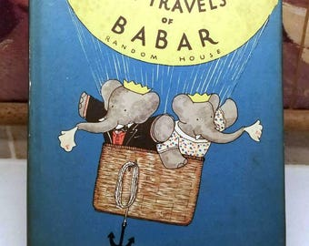 Jean De Brunhoff, The Travels of Babar, Rare Vintage 1st Edition w/ Dust Jacket (1934)
