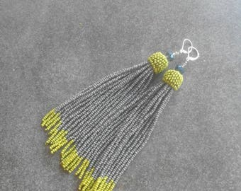 Gray and green seed bead tassel earrings