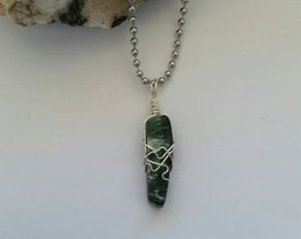 Divine Light - Seraphinite Necklace, Crystal Healing, Sterling Silver Jewelry, Wire Wrapped Pendant, Divine Feminine, Spiritual Healing