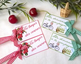 temps des cerises and country gingham ribbons 4 labels