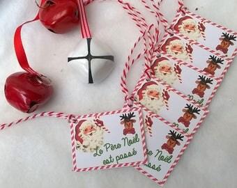 """8 Christmas tags """"Father Christmas rose"""""""