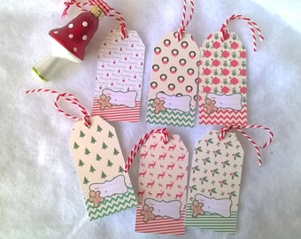 6 Christmas 6 patterns vintage labels