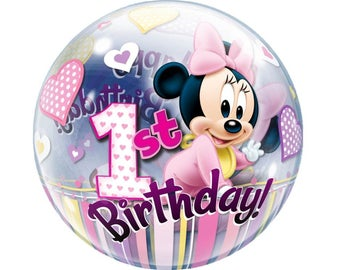 """Disney Baby Minnie Mouse Bubble Balloon 22"""" First 1st Birthday Party Decoration Supplies Décor Photo Prop"""