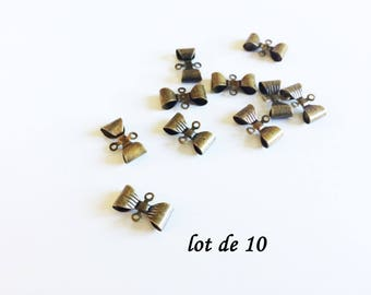 Set of 10 bows bronzes, bronze bow charms