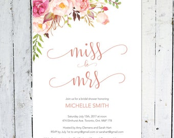 Bridal Shower Invitation, Miss To Mrs., Boho Bridal Shower Invitation,  Pink, Floral, Pastel, Flowers, Watercolor, Printable, Printed