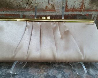 Beige Satin Clutch Bag with Gold Tone Shoulder Length Chain Exceptional Condition