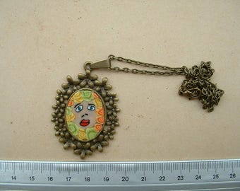 BEAUTIFUL POLYMER CLAY CABOCHON PENDANT HANDMADE NECKLACE