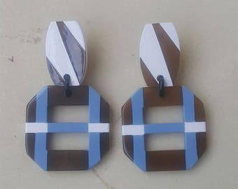 Buffalo Horn Earrings Lacquered QG21