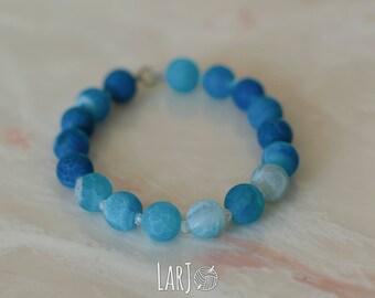 SEA BLUE Natural Stone Hand-Beaded Elastic Bracelet